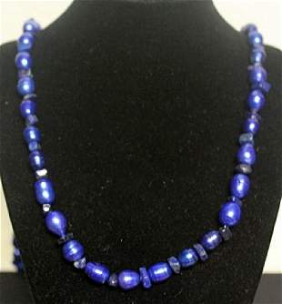 Gorgeous Blue Pearl Lupis Necklace 55ZF