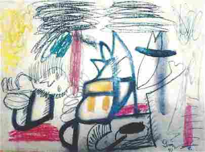 The Enigma - Arshile Gorky - Oil Pastel On Paper
