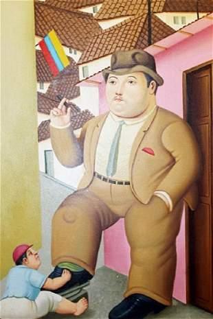 Lustra Botas Fernando Botero Oil On Canvas