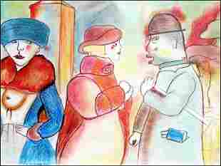 Cabaret George Grosz Pastel On Paper