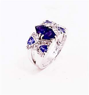 SILVER RING WITH IOLITE AND TANZANITE