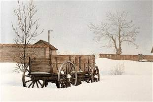 Winter Farm Hal Olsen Lithograph