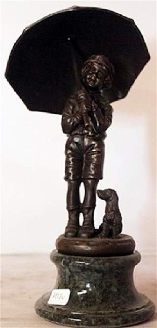 Rainy Day Bronze sculpture