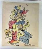 Jean DuBuffet - Composition II Watercolor