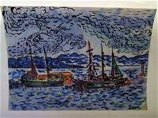Paul Signac - Boats in the River Watercolor