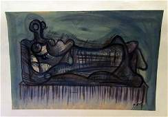 Henry Moore - Untitled 1970 Watercolor