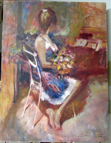 Hand Signed Jorn Fox Oil on Canvas