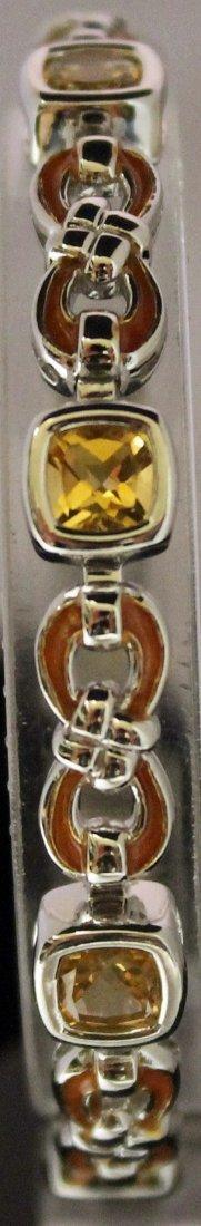 Fancy Sterling Silver Lab Golden Sapphire Bracelet.