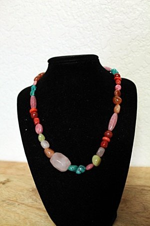 Fancy Turquoise Amethyst Jade Necklace