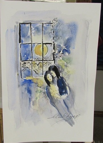 Signed Marc Chagall Watercolor