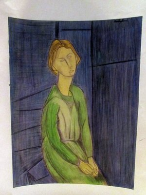 Amadeo Modigliani - Ms Dorotea Watercolor