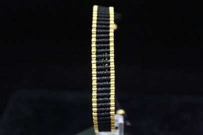 Gorgeous 14kt Gold over Silver Black Bracelet (100M)