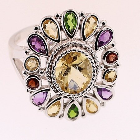 SILVER RING WITH MULTIGEMS