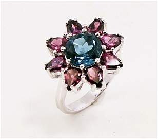 SILVER RING WITH BLUE TOPAZ AND RHODOLITE