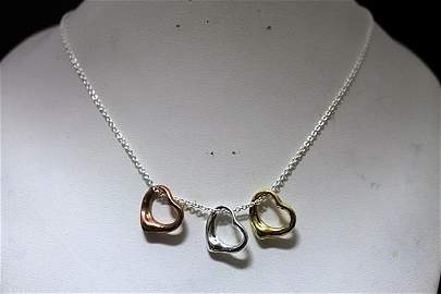 Fine T & Co. Mix Gold over Silver Hearts Necklace