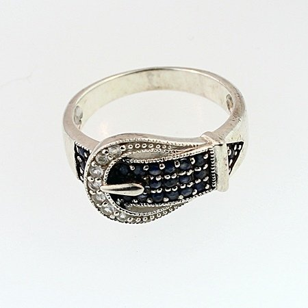 SILVER RING WITH SAPPHIRE AND TOPAZ