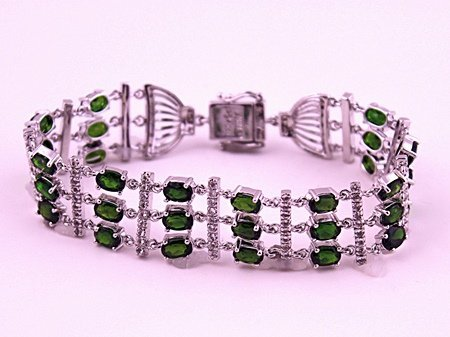 SILVER BRACELET WITH CHROME DIOPSIDE