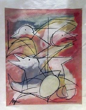Jean Hans Arp - The Birds Watercolor