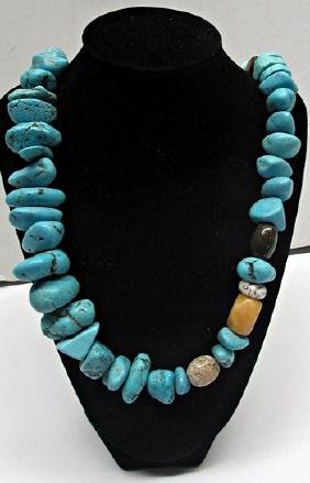 Stunning Turquoise & Tiger Eye Necklace