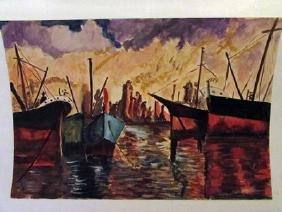Camille Pissarro - Paris Port Watercolor