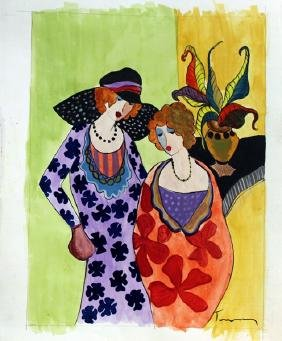 Itzchak Tarkay - Two Womans 1990 Watercolor