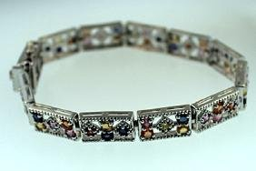 SILVER BRACELET WITH MULTI SAPPHIRE