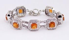 SILVER BRACELET WITH FIRE OPAL AND WHITE ZIRCON