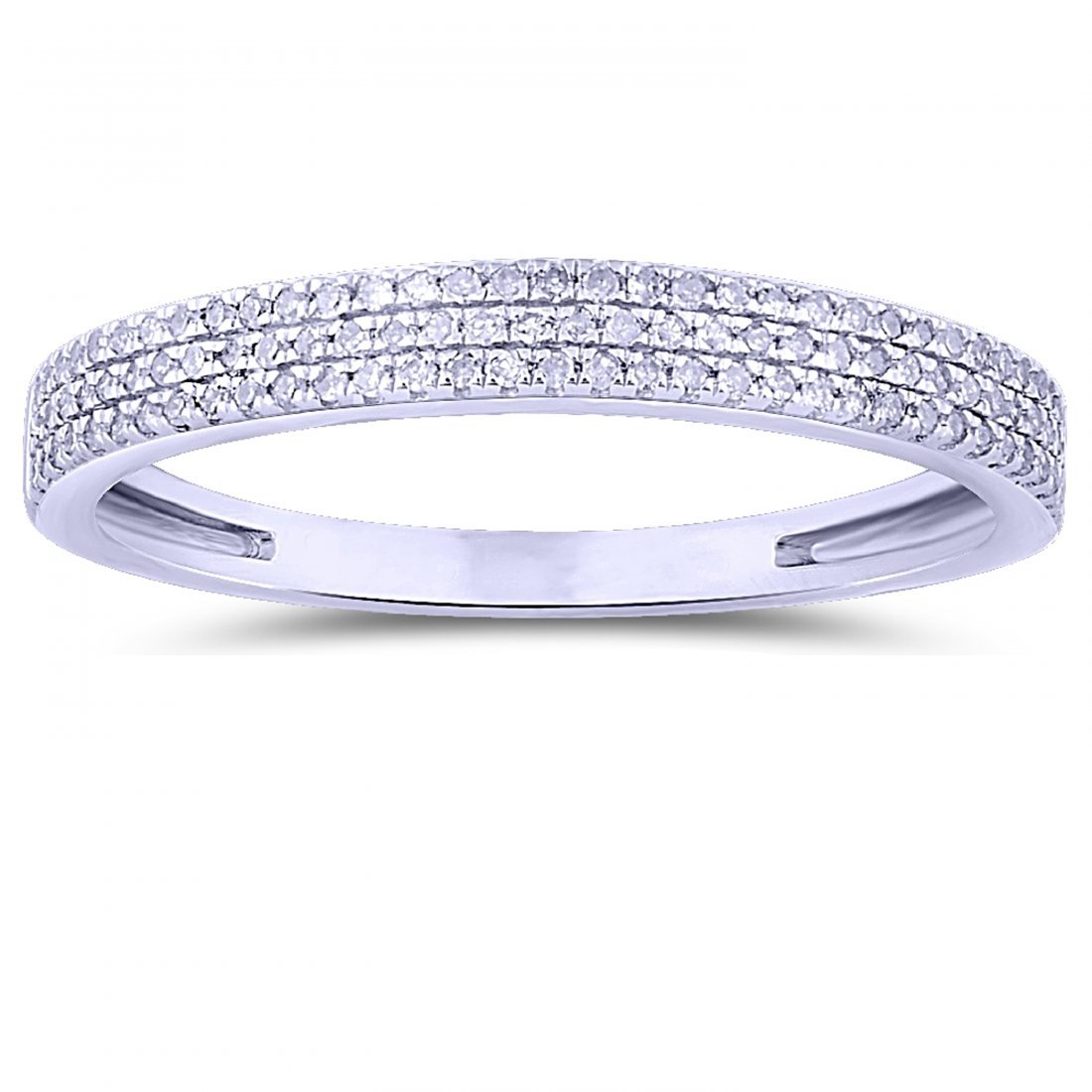 Straight 3-Row Diamond Band In 14K White Gold | 433328