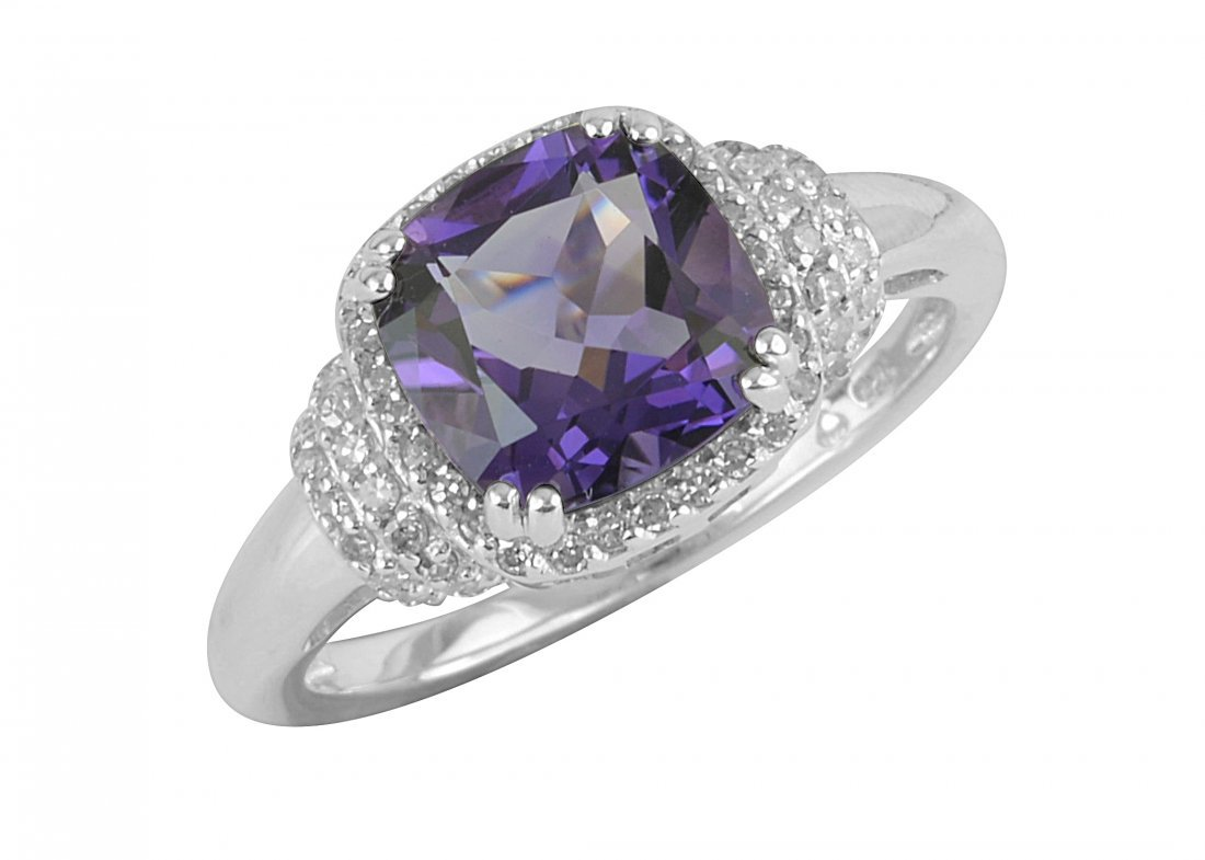 SS AMETHYST / DIAMOND RING - Size 7 (#10189A)