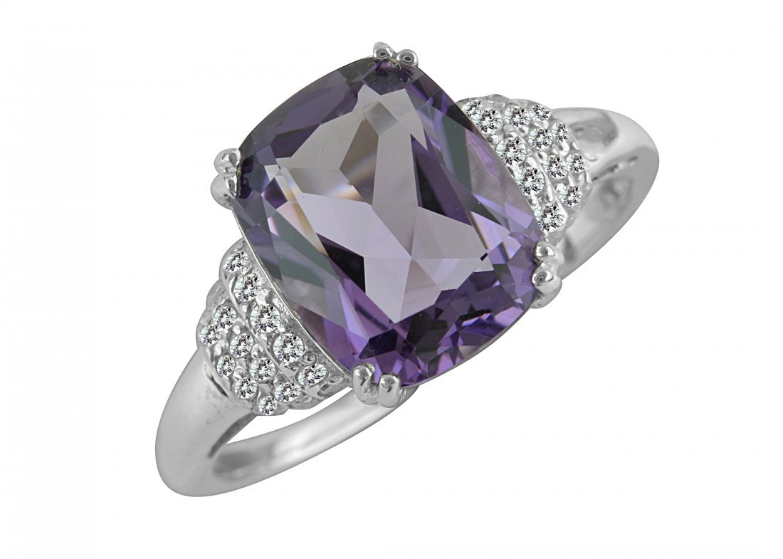 SS AMETHYST / DIAMOND RING - Size 7 (#10162A)