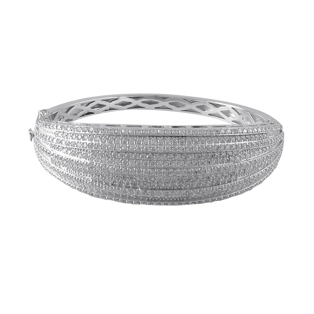 Sterling Silver Bangle With White CZ's Pave-60M