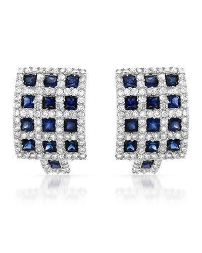 Checkered Pink Sapphire/Diamond Earrings In 18K White
