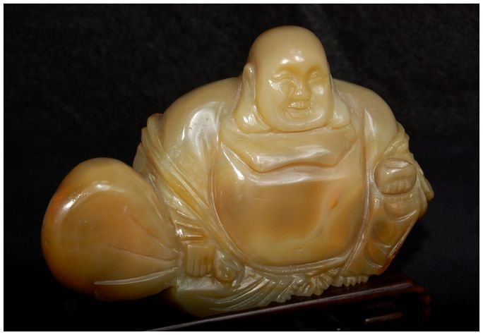 Chinese Agate Hotei carved Antique - 2