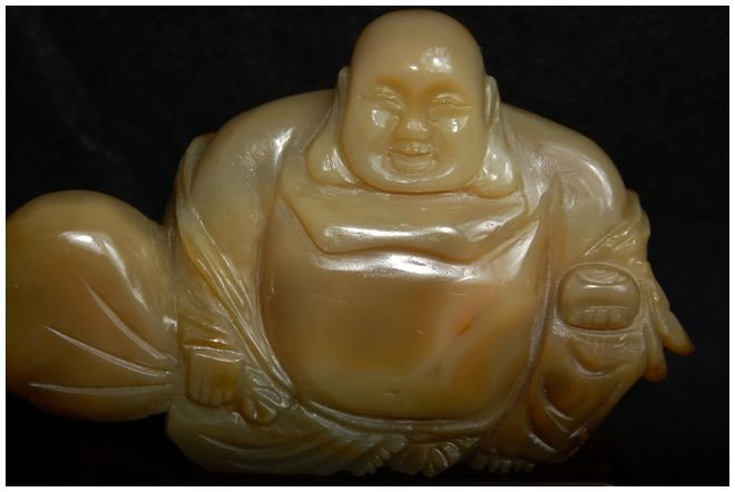 Chinese Agate Hotei carved Antique - 5