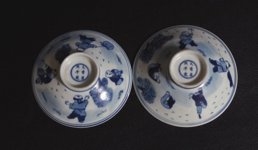 Blue and White Porcelain bowl Qing Dynasty; - 8