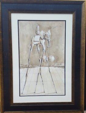 "Salvador Dali (1904-1989)-(attrib)-Size 22""h X 13.5""w -"