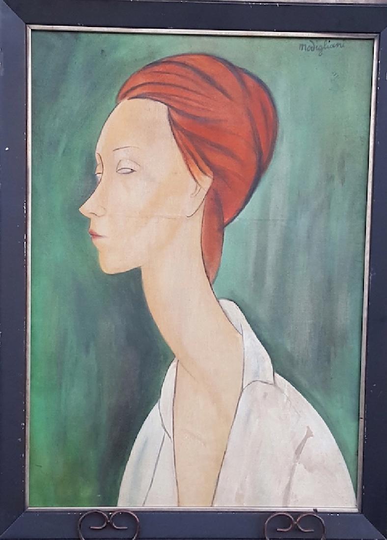 Modigliani-Girl in Green-Oil on Canvas (Attrib.)
