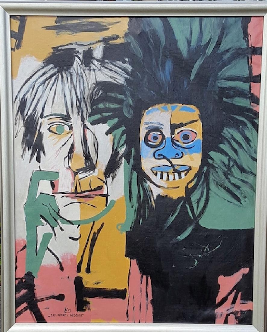 Michel Basquiat-Warhol/Basquiat-Oil On Canvas (Attrib.)