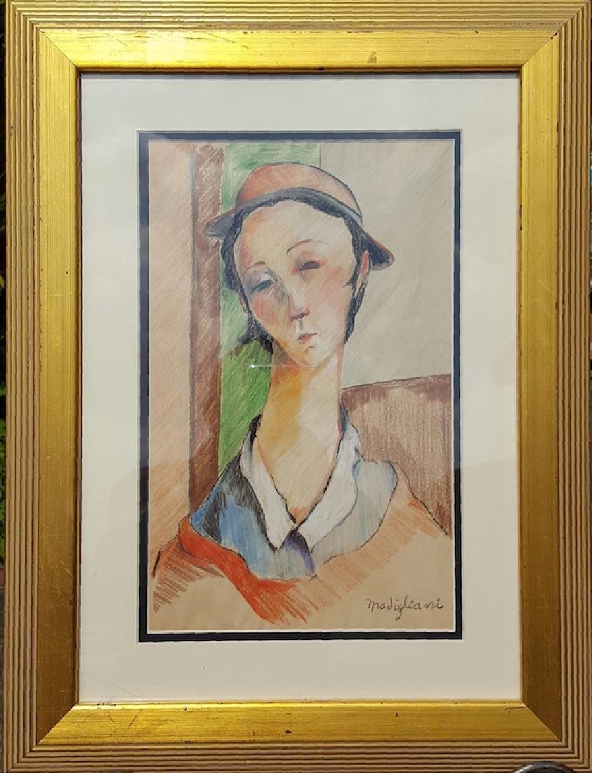 Modigliani-Nina-Color Pencil on Paper (Attrib.)