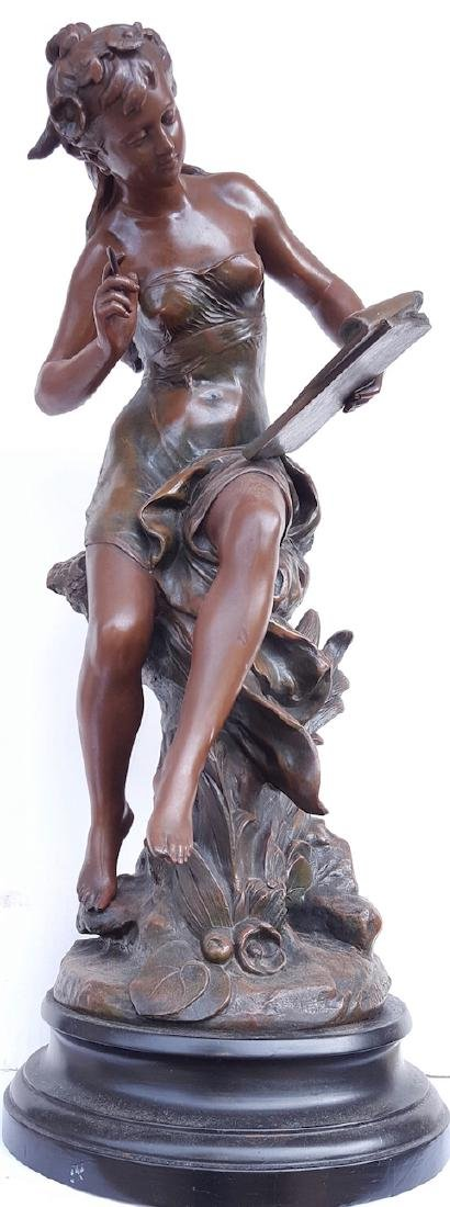 Art Nouveau- Spelter Figure (France metal) with Seal