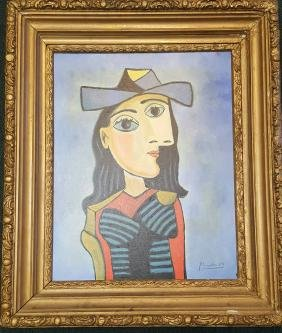 Pablo Picasso-(attrib ) (coa) oil on canvas-