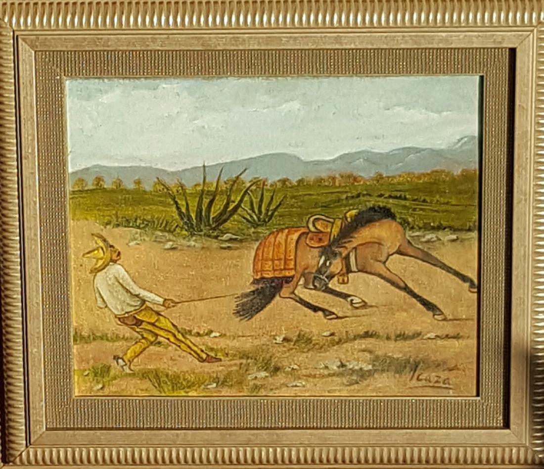 """Ernesto l Caza-Oil on canvas-Attrib. COA-Size: 8""""h X"""