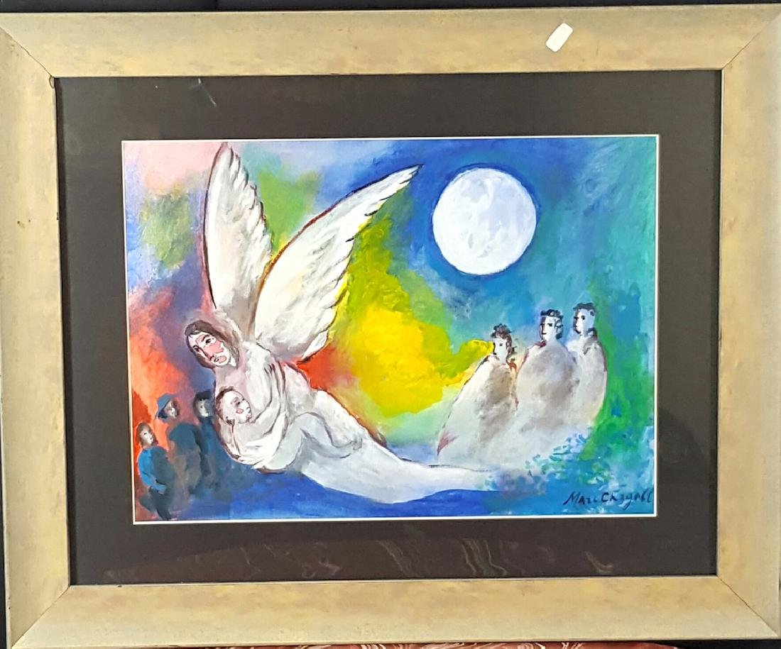 """Marc chagall ,Water color on paper (coa)size 13""""h x"""