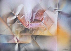 Leonardo Nierman-Acrylic on paper- COA (Attrib.)-Size: