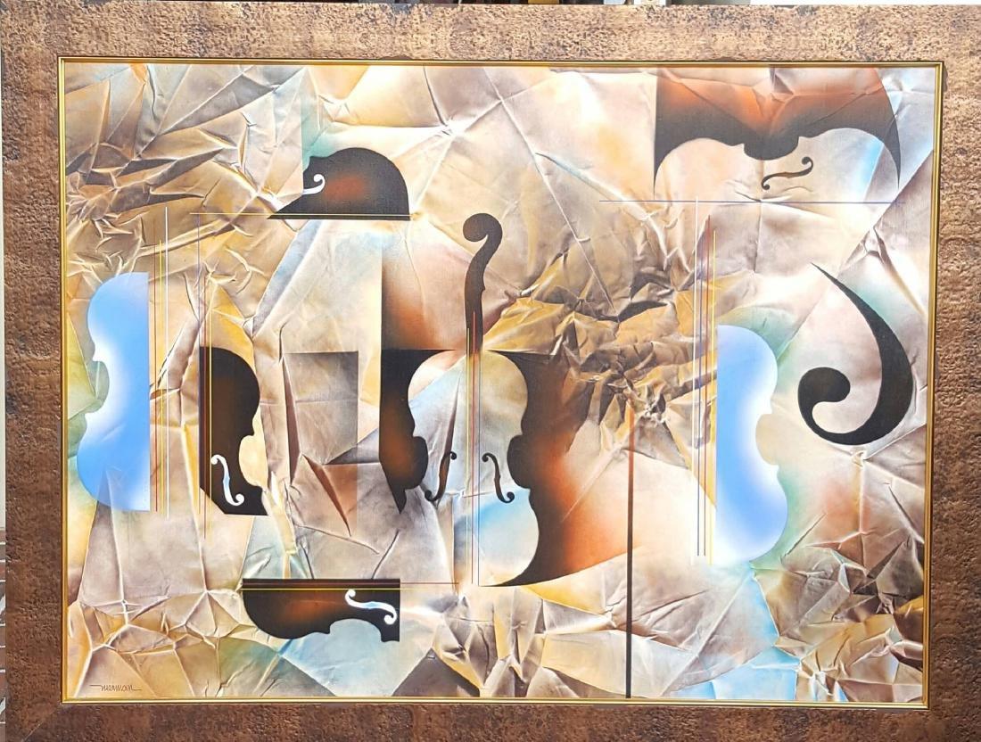 "Leonardo Nierman-Oil on Canvas-COA-35""h X 47""w-With"