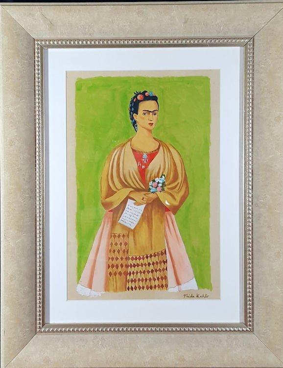 "Frida Kahlo(coa) Gouche on paper  size 14.5""h x 12.5""w"