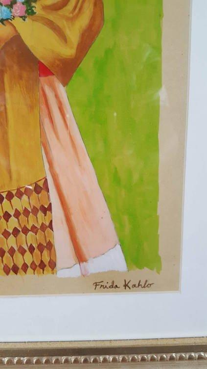 "Frida Kahlo(coa) Gouche on paper  size 14.5""h x 12.5""w - 2"