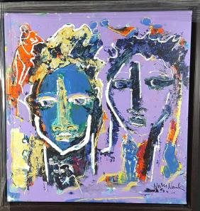 "Neith Nevelson oil on canvas  size 24.5""h x 23.5""w"