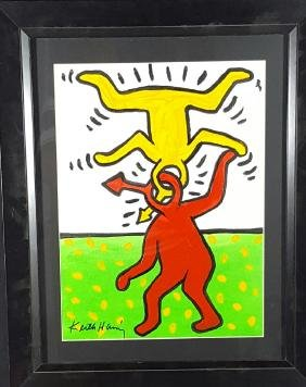"Keith Haring-(coa) Gouche on paper-size 16""h x"