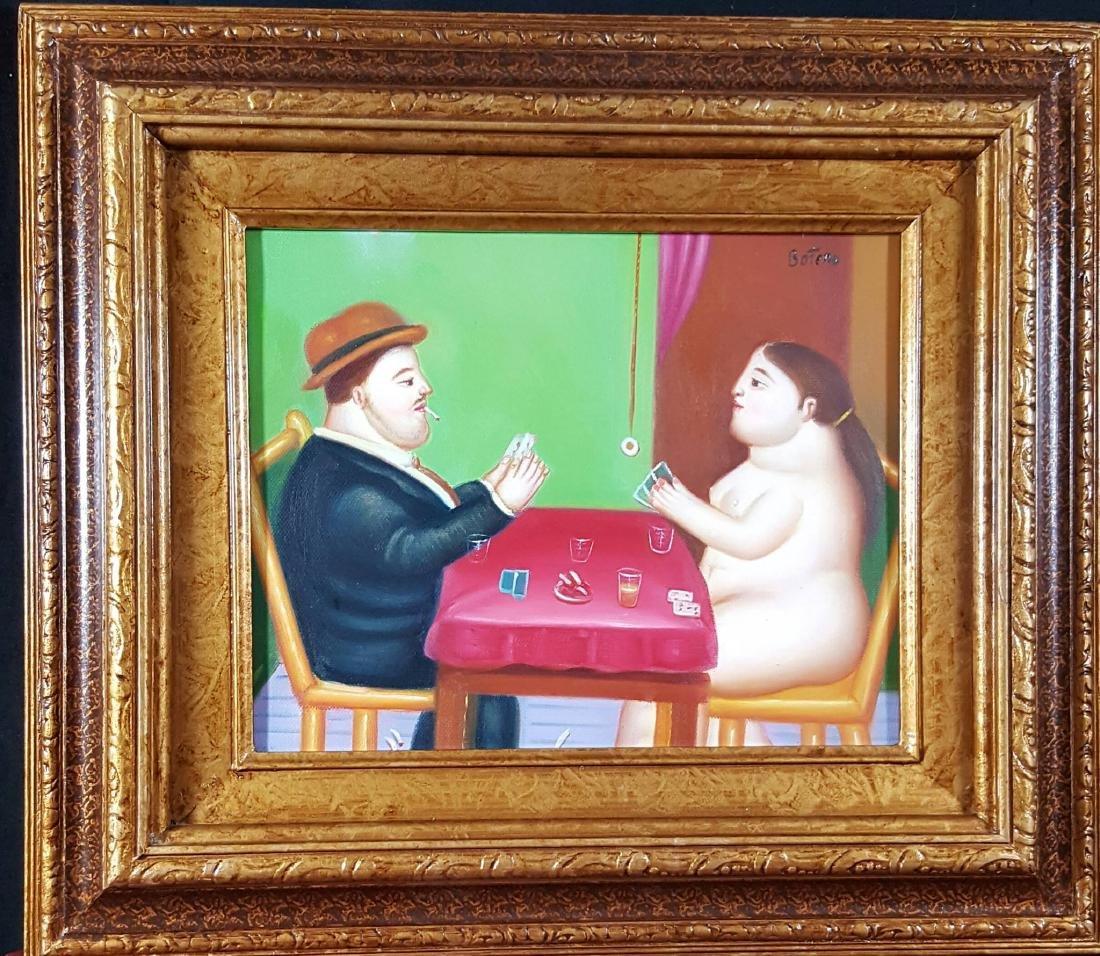 "Fernando Botero-attrib (coa) oil on canvas-Size: 8""h"